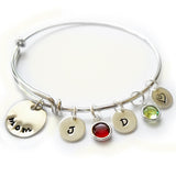 Sterling Silver Monogram Bangle with Swarovski Birthstones