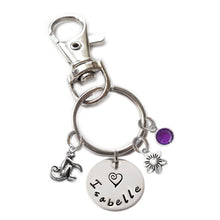 Load image into Gallery viewer, Personalized MONKEY Swivel Key Clasp with Sterling Silver Name