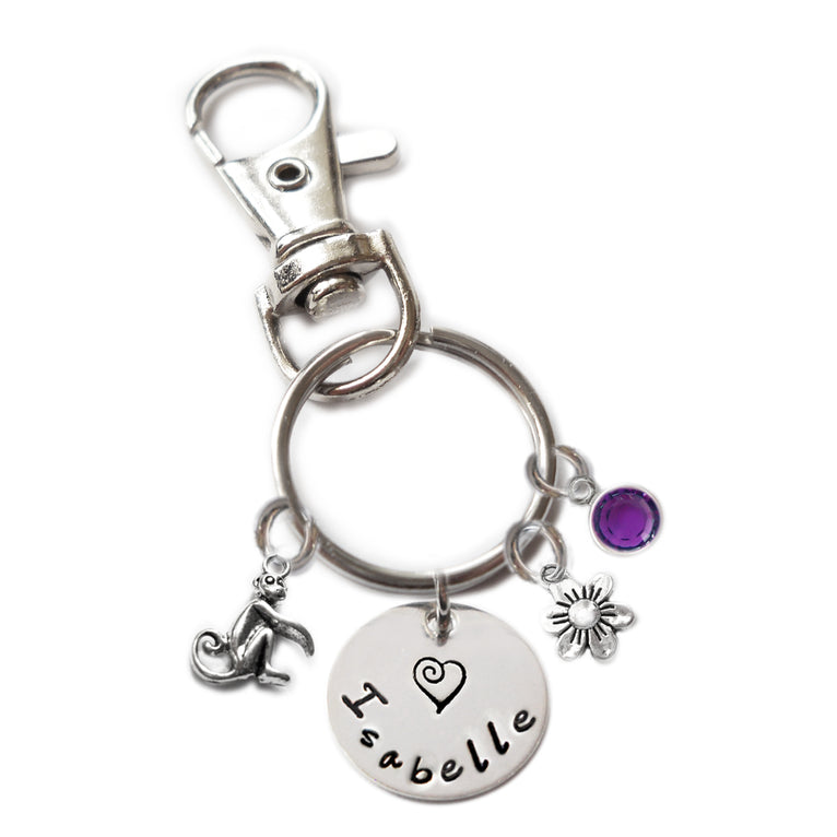 Personalized MONKEY Swivel Key Clasp with Sterling Silver Name