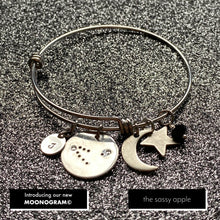 Load image into Gallery viewer, Capricorn Constellation with Moonogram© Expandable Bangle