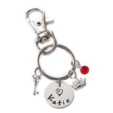 Personalized MOUSE EARS AND CROWN Swivel Key Clasp with Sterling Silver Name