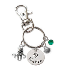 Load image into Gallery viewer, Personalized OCTOPUS Swivel Key Clasp with Sterling Silver Name