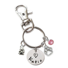 Load image into Gallery viewer, Personalized PANDA BEAR Swivel Key Clasp with Sterling Silver Name