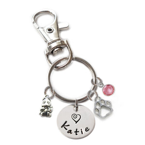 Personalized PANDA BEAR Swivel Key Clasp with Sterling Silver Name
