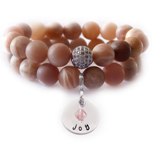 Peach Moonstone Beaded Beauty Bracelet