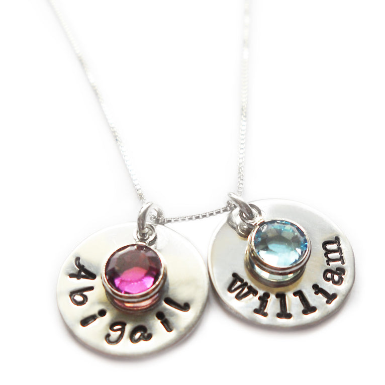 Pewter Name Necklace with Swarovski Birthstone