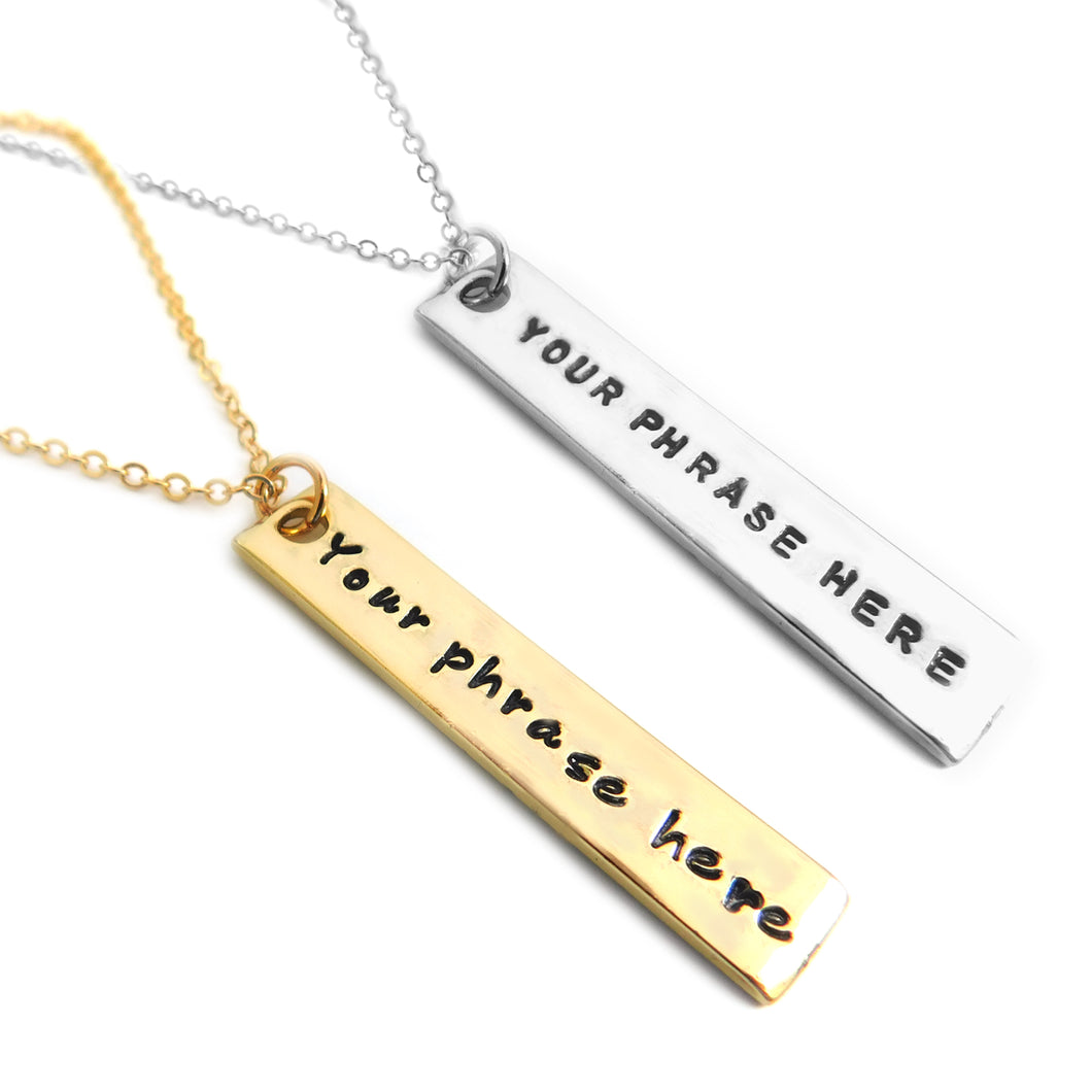 Silver or Gold Shiny Rectangle Tag Necklace