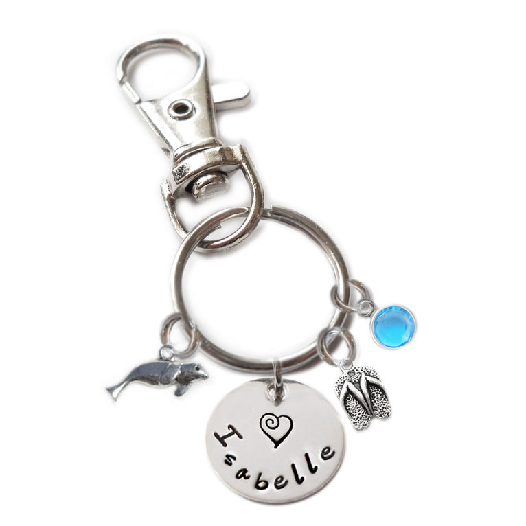 Personalized SEA LION Swivel Key Clasp with Sterling Silver Name