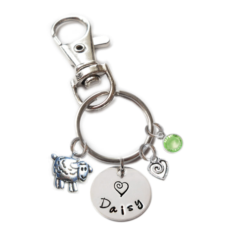 Personalized SHEEP Swivel Key Clasp with Sterling Silver Name