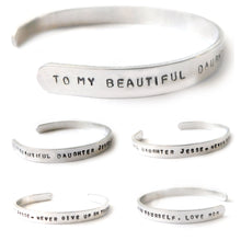 Load image into Gallery viewer, Handstamped Adjustable Cuff Bracelet