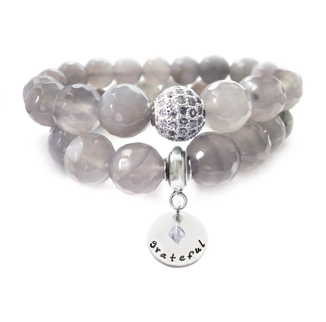 Faceted Gray Agate Beaded Beauty Bracelet