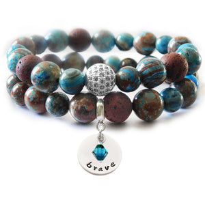 Blue Sky Jasper & Brown Lava Beaded Beauty Bracelet
