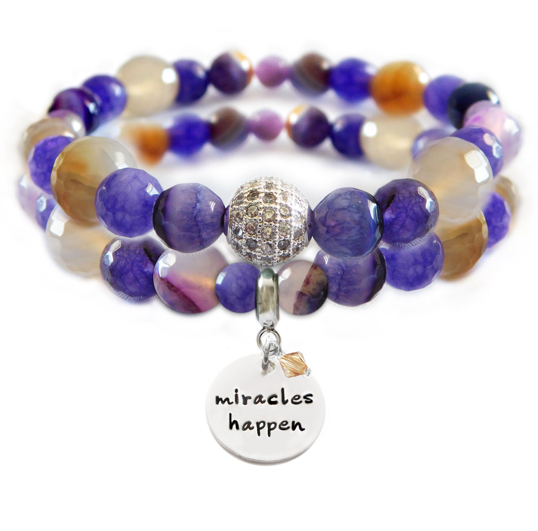 Brown/Purple Agate, Malaysian Jade Grape & Amethyst Beaded Beauty Bracelet