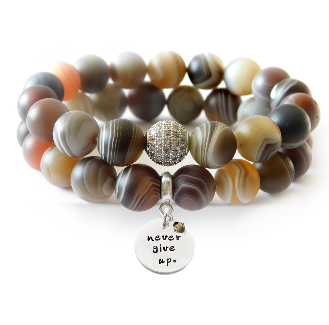 Botswana Agate Matte Beaded Beauty Bracelet