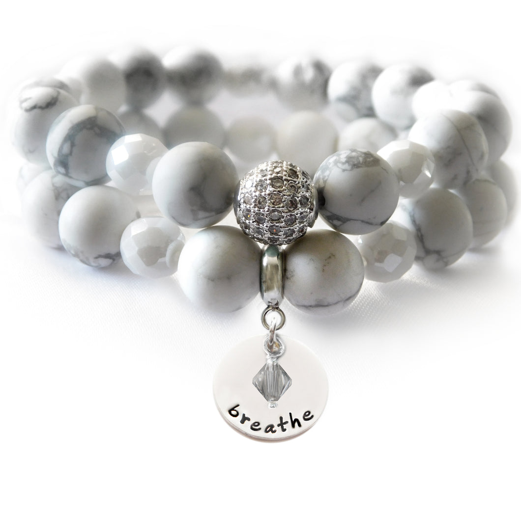 White Howlite Beaded Beauty Bracelet