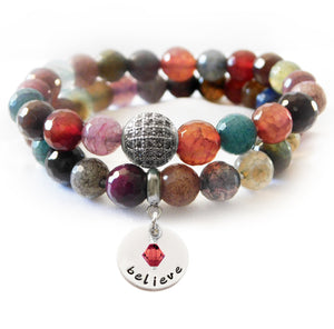 Multicolor Faceted Agate Beaded Beauty Bracelet