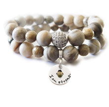 Load image into Gallery viewer, Silver Leaf Jasper & Fossil Coral Beaded Beauty Bracelet