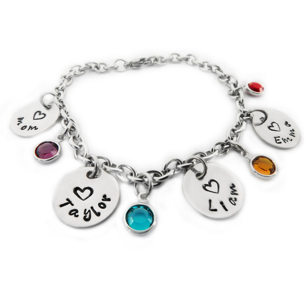 Charm Bracelet Personalized Sterling Silver Names for Mom
