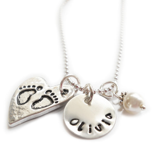 Personalized Charm Necklace with Name with Sterling Silver Name