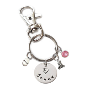 Personalized TEDDY BEAR Swivel Key Clasp with Sterling Silver Name