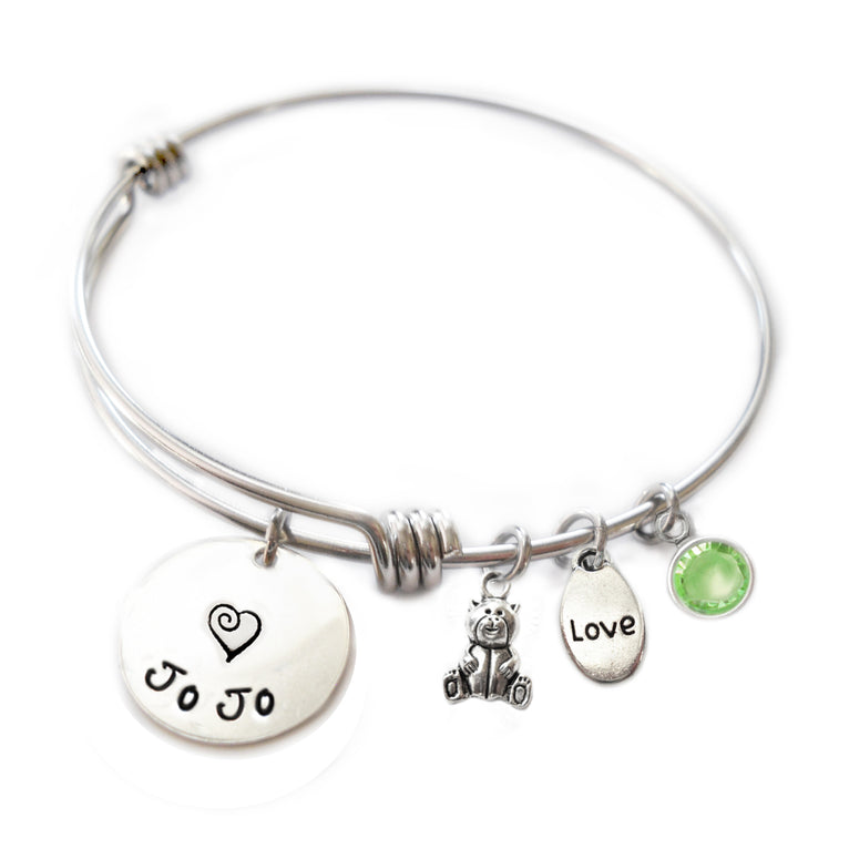 Personalized TEDDY BEAR Bangle Bracelet with Sterling Silver Name