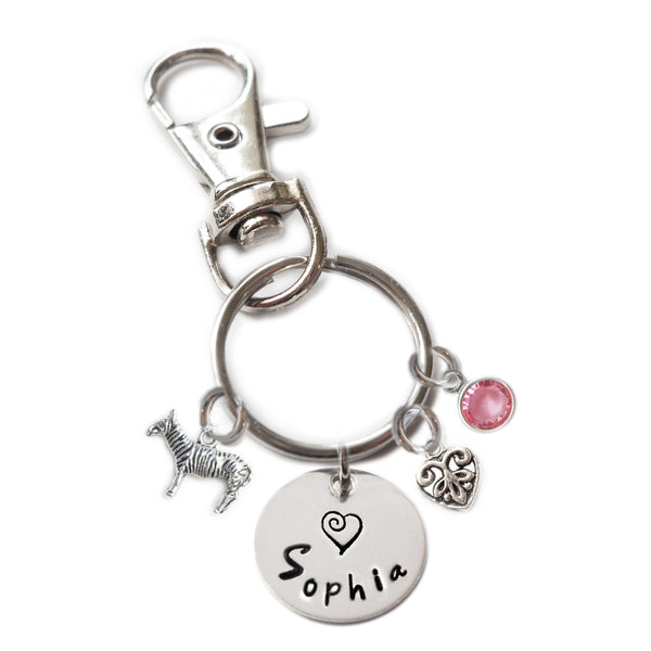 Personalized ZEBRA Swivel Key Clasp with Sterling Silver Name