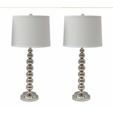 Set of 2 Stacked Ball Table Lamp with Linen Shade - 7 Colors