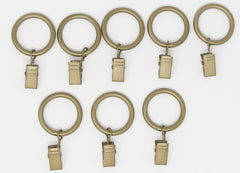 "Metal Curtain Drapery Rings with Clips, 8 Pk, 1-inch Inner Diameter, Fits up to 3/4"" Rod"