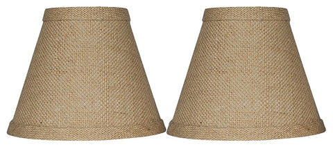 Urbanest 1100328a Chandelier Lamp Shade 6-inch, Hardback, Clip On, Burlap(set of 2)