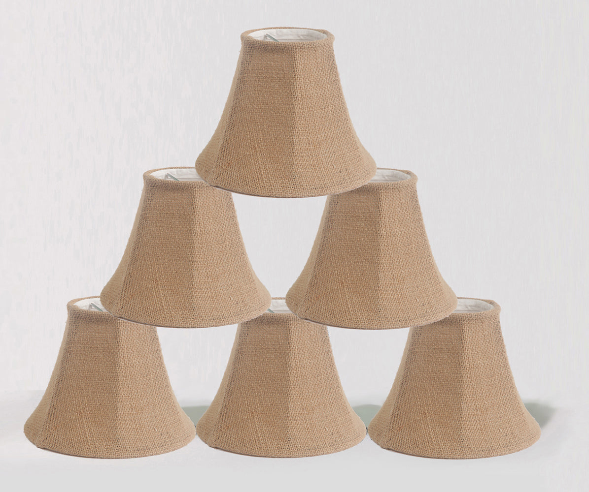 Burlap Bell 6-inch Chandelier Lamp Shade - 5 Colors