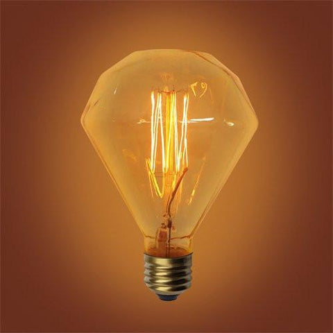 E26 Base Diamond Squirrel Cage Filament Vintage Edison Bulbs, 60 Watt, 5-inch Long