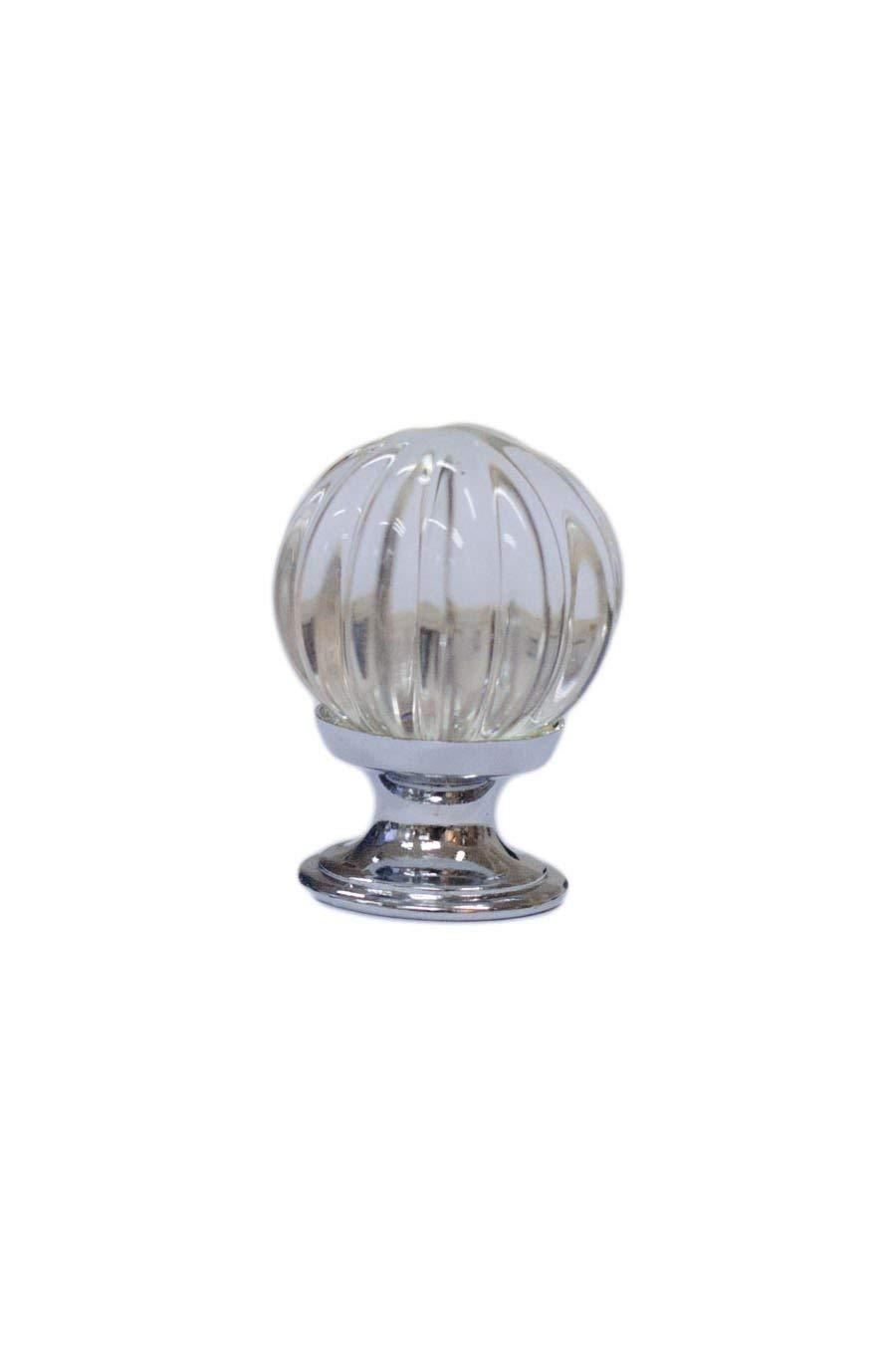 Urbanest Vintage Style Fluted Glass Cabinet Hardware Knob 1-3/16 Inch Diameter, Zinc Alloy Base, 10 Pack