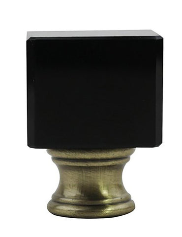 Crystal Glace Lamp Finial, Black with Antique Brass, 1 1/2-inch Tall