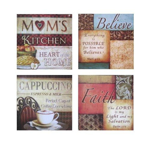 Inspirational Framed Wall Plaque Decor, Set of 4