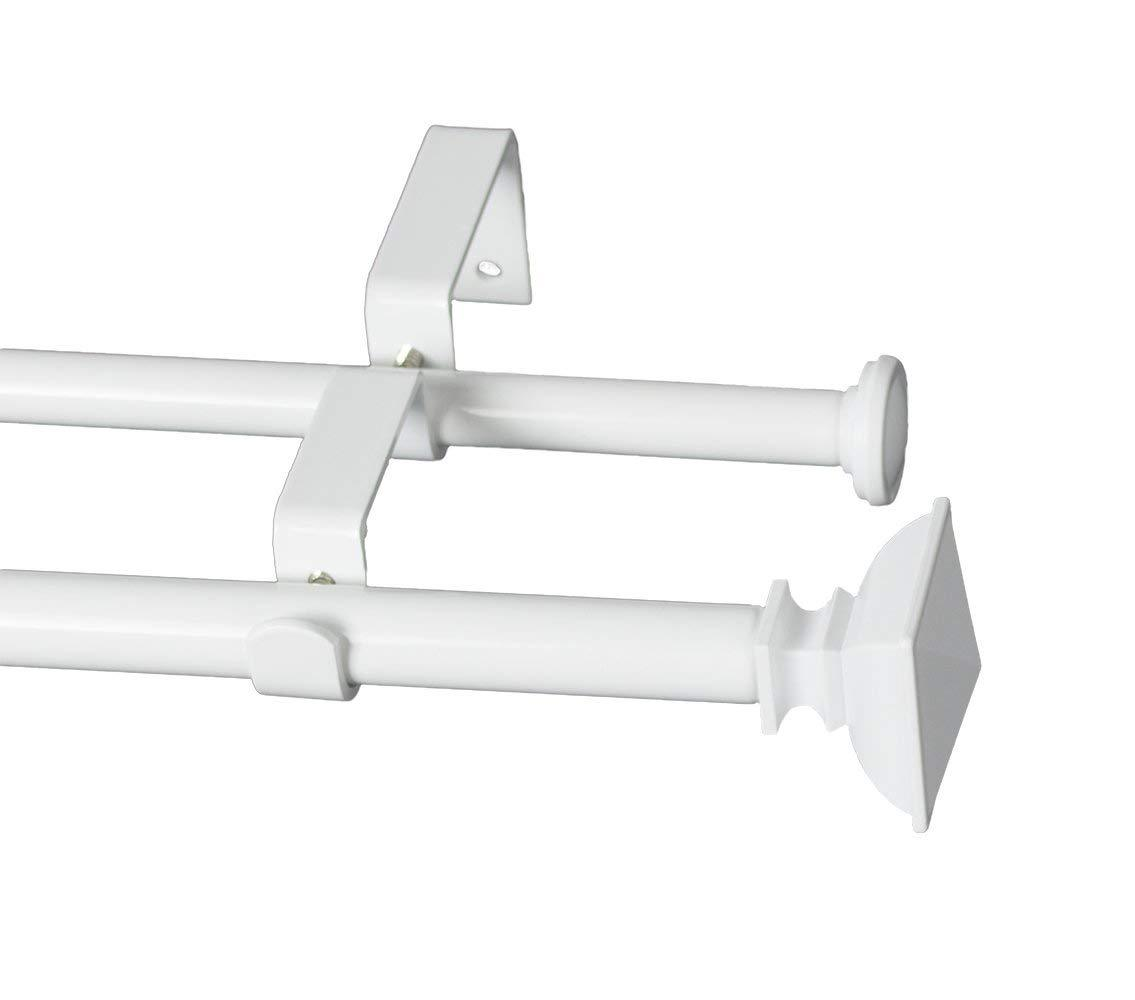 Square Urn Adjustable Double Drapery Curtain Rod Set, 5/8""