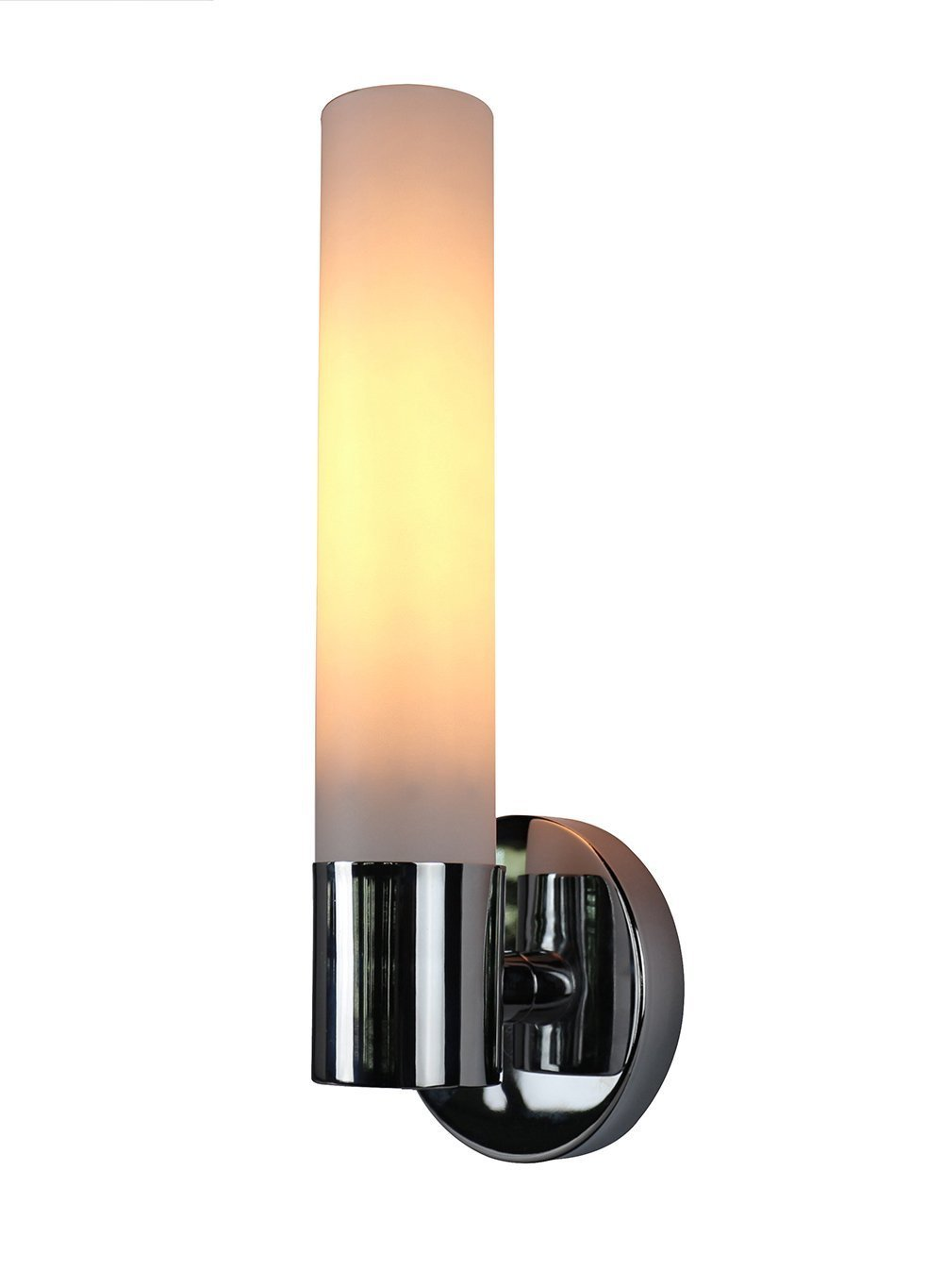 Enzo One-Light Wall Sconce Lamp with Frosted Glass Shade - 2 Finishes, Hardwired