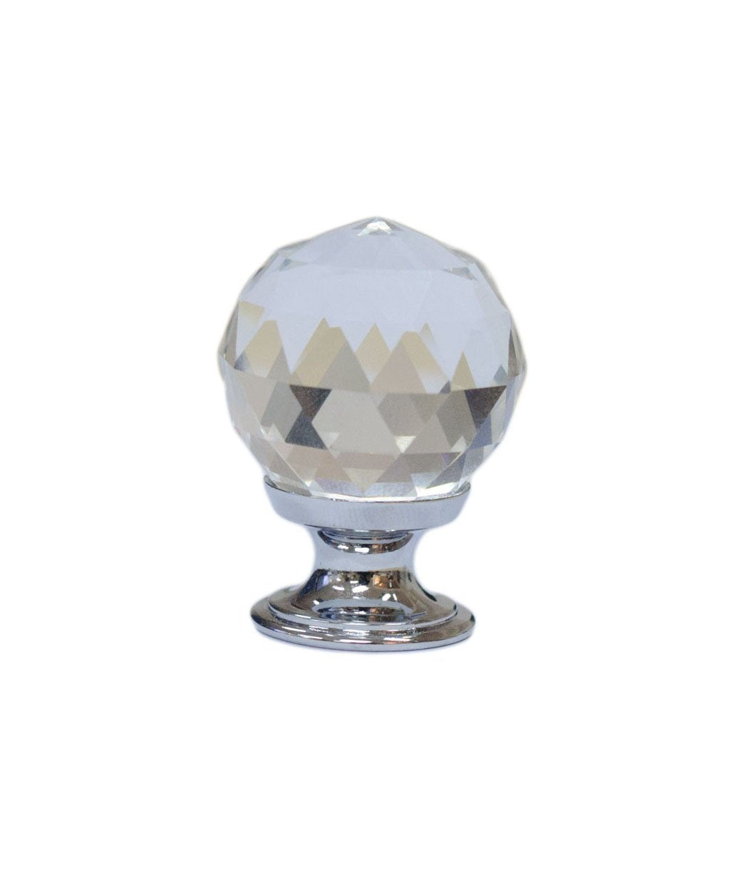 Vintage Style Diamond Shaped Glass Cabinet Hardware Knob 1-3/16 Inch Diameter, Zinc Alloy Base