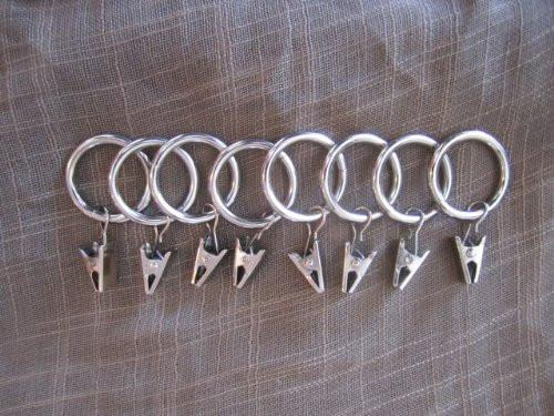 "1 3/8"" Metal Curtain Drapery Rings with Clips - 5 Finishes"