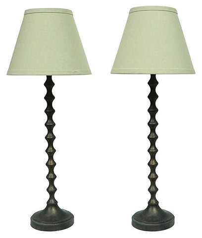 Hastings Table Lamps in Paris Bronze with Natural Linen Shades - Set of 2