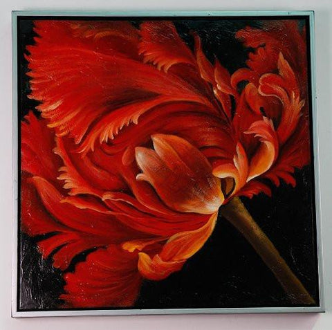 "Framed Stretched Lily II Oil Painting 29""x29"""