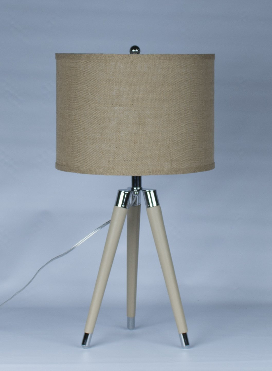 Tan Mid Century Modern Tripod Leather Chrome Table Lamp With Drum Ha Urbanest