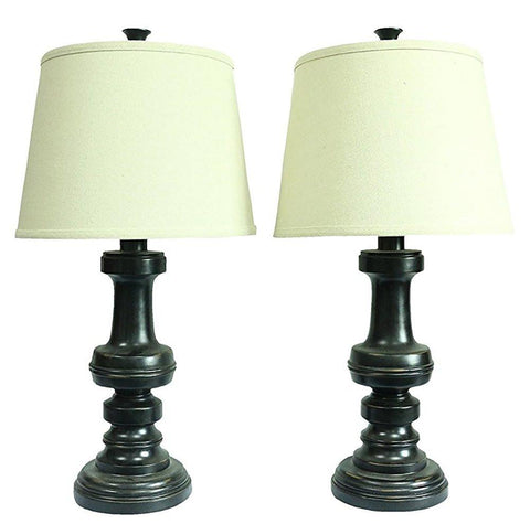Set of 2 Lafayette Table Lamps, Distressed Black Finish