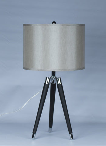 Black Mid Century Modern Tripod Leather & Chrome Table Lamp with 14-inch Champagne Drum Shade