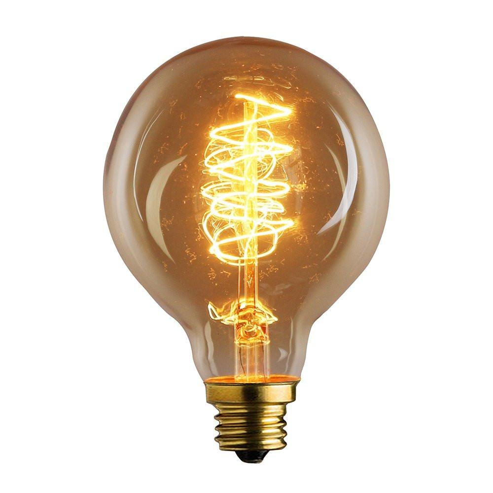 E26 Base Round Spiral Loop Filament Vintage Edison Bulbs, 4 3/4-inch Long