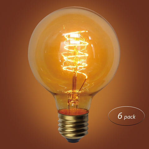 Spiral Loop G80 Vintage Edison Bulb, E26 Medium Base, 60 Watt