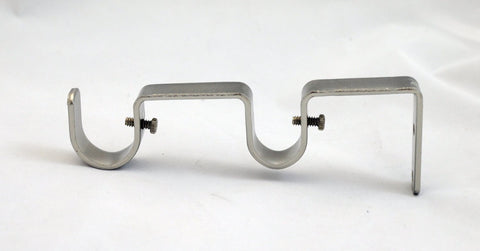 "Set of 2 Double Curtain Rod Bracket for 1"" and 3/4"" Rod, Brushed Steel"