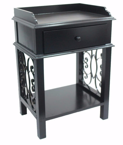 American Country End Side Table with Drawer, Tray Top and Scroll Iron sides