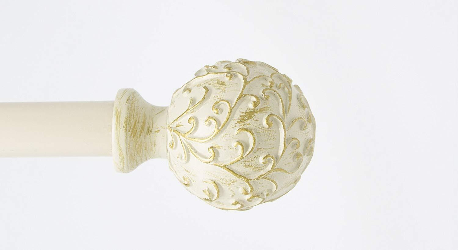 "1"" Diameter Scroll Ball Adjustable Single Drapery Curtain Rod"