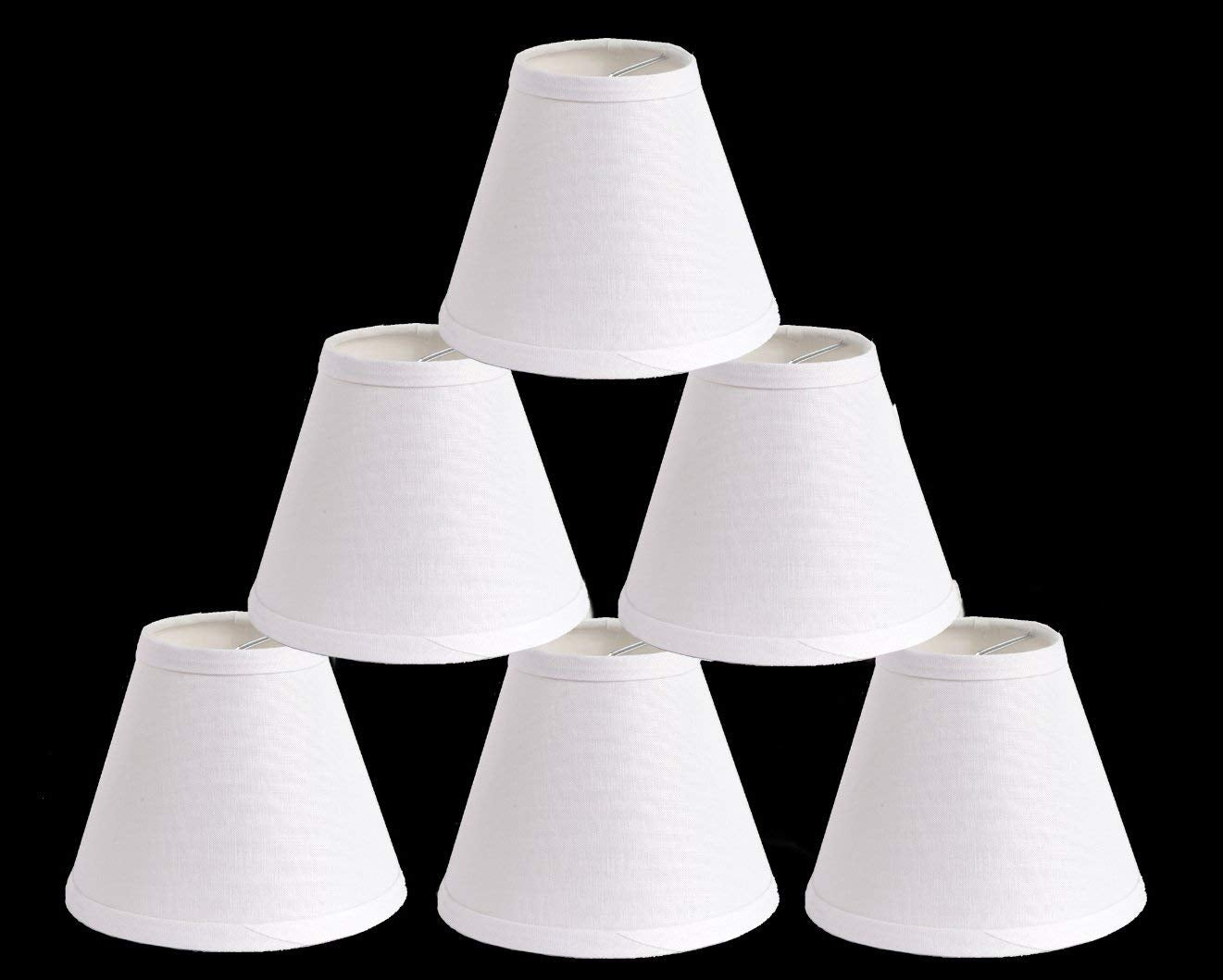 Urbanest Pure Linen Chandelier Lamp Shades, 6-inch, Hardback Clip On, White(set of 6)
