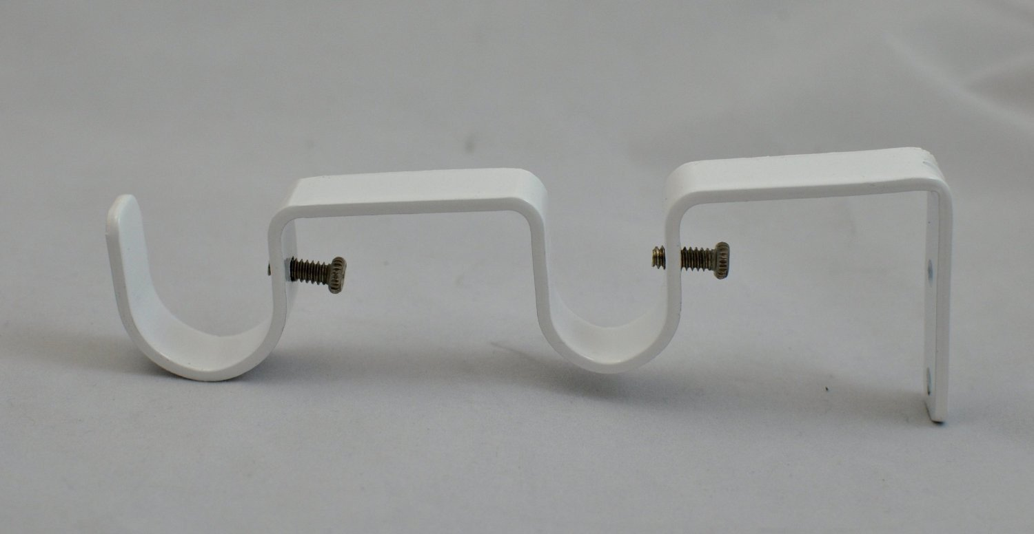 set of 2 double curtain rod bracket for 1 and 3 4 rod glossy white